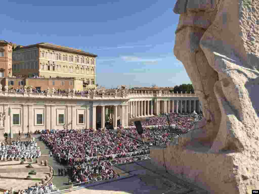 La plaza San Pedro del Vaticano estalló en aplausos cuando el pontífice terminara de pronunciar el rito de canonización al inicio de una misa al aire libre. [Foto: Celia Mendoza, VOA].