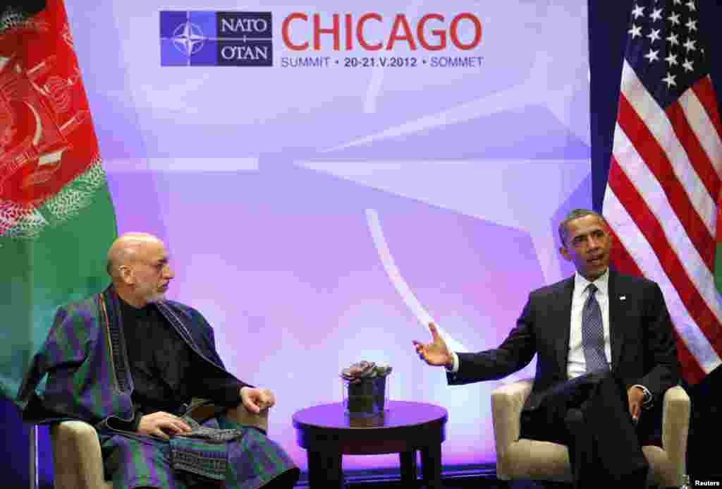 U.S. President Barack Obama during a meeting with Afghanistan's President Hamid Karzai at the NATO Summit at McCormick Place in Chicago, May 20, 2012.