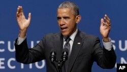 2015年2月13日美國總統奧巴馬在斯坦福大學有關網絡安全和消費者保護的會議上講話