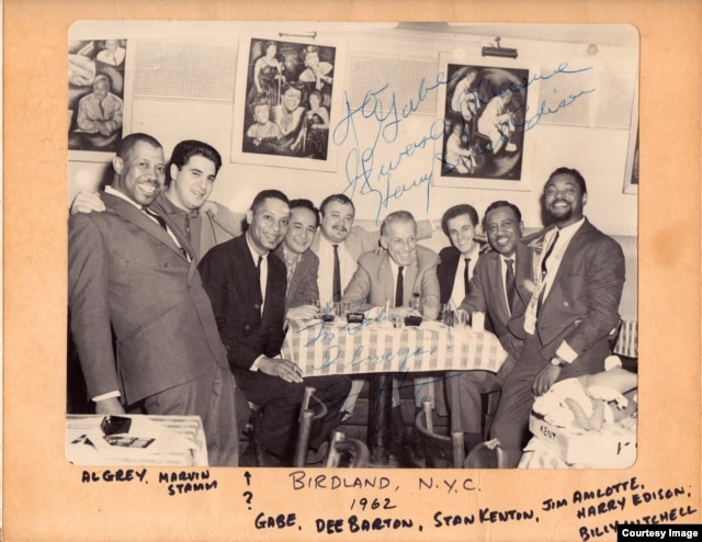 Gabe Baltazar (fourth from left) with Stan Kenton and members of his band and Count Basie band members in New York City in 1962. (Courtesy Gabe Baltazar)
