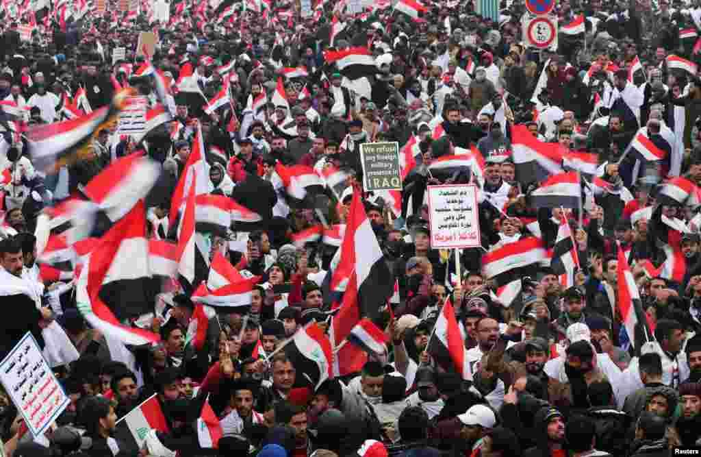 عراقی حکومت کی معاشی پالیسیوں اور ملک میں جاری مسائل کے خلاف دارالحکومت بغداد کے علاوہ ملک کے دیگر حصوں میں بھی وقتاً فوقتاً احتجاجی مظاہرے ہو رہے ہیں جو اکثر و بیشتر امریکہ مخالف احتجاج میں بدل جاتے ہیں۔