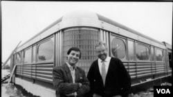 Founders Chef Ype Von Hengst (right) and Robert Giaimo during construction of the first Silver Diner in 1989. (Courtesy of Silver Diner)