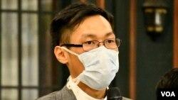 民主黨深水埗區議員袁海文表示,免費電視台停播港台節目會令公眾利益受損。(美國之音湯惠芸)