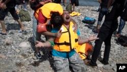 敘利亞難民抵達希臘萊斯博斯島
