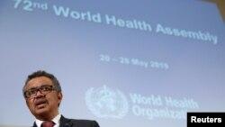 Direktur Jenderal Badan Kesehatan Dunia (WHO) Tedros Adhanom Ghebreyesus menghadiri Majelis Kesehatan Dunia ke-72 di Jenewa, Swiss, 20 Mei 2019.