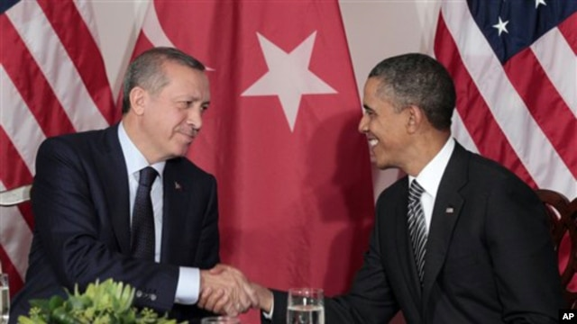 President Barack Obama, right, is seen during his bilateral meeting with Prime Minister of Turkey Recep Tayyip Erdogan, left, in New York, September, 20, 2011.