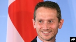 Foreign Minister of Denmark, Kristian Jensen, poses for the media prior to a meeting with German Foreign Minister Frank-Walter Steinmeier in Berlin, Germany, June 30, 2015.