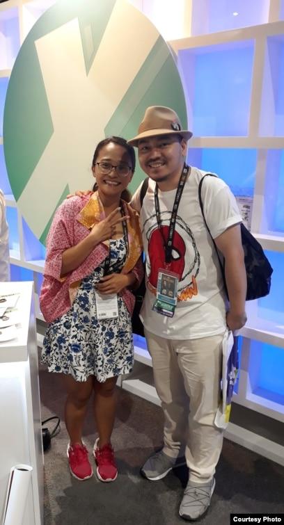 Komikus Indonesia Ariela Kristantina (kiri) dan Ario Anindito (kanan) di San Diego Comic-Con (dok: Ariela)