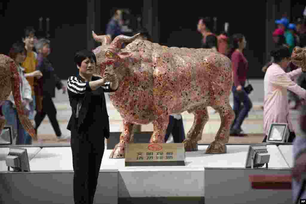 یک زن در کنار مجسمه گاو نر در بازار مالی پکن عکس می گیرد. این مجسمه در بازار مالی پکن، کپی چینی ها از «چارچینگ بول» یا «گاو پولساز» مقابل وال استریت قلب اقتصادی منهتن در شهر نیویورک است. آن مجسمه ۳۲۰۰ کیلویی سال ۱۹۸۹ نصب شد.