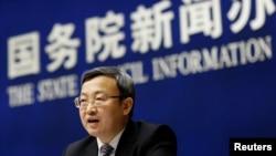 Thứ trưởng Thương mại Trung Quốc Vương Thụ Văn họp báo hồi tháng 4/2018 (ảnh tư liệu)