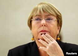 FILE - U.N. High Commissioner for Human Rights Michelle Bachelet attends a session of the Human Rights Council at the United Nations in Geneva, Switzerland, Sept. 9, 2019.