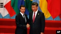 墨西哥總統涅託與中國國家主席習近平2016年9月會面(美聯社)