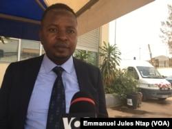 Delors Magellan Kamgaing Kamseu, président de la ligue camerounaise des consommateurs du Cameroun, le 4 février 2018. (VOA/Emmanuel Jules Ntap)