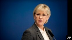 FILE - Sweden's Foreign Minister Margot Wallstrom talks during a news conference at the government building Rosenbad, in Stockholm.