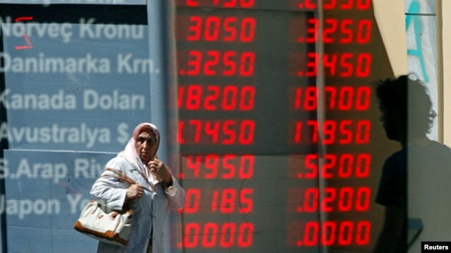 A currency exchange office in downtown Istanbul, June 21, 2013.