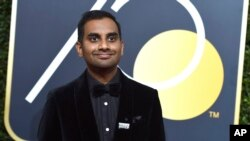 FILE - Aziz Ansari arrives at the 75th annual Golden Globe Awards in Beverly Hills, Calif., Jan. 7, 2018. (Photo by Jordan Strauss/Invision/AP)