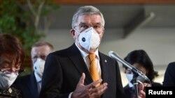 國際奧委會主席巴赫2020年11月16日在東京見記者(路透社)