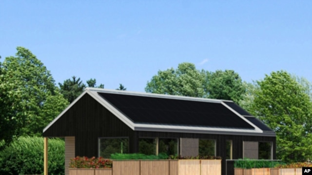Artist's rendering of the solar-powered house Middlebury College students designed as part of a global competition.