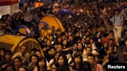 香港示威民眾街頭爭民主情形(2014年10月21日)