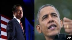美国总统奥巴马和共和党总统候选人罗姆尼2012年10月4日分别在科罗拉多州丹佛不同的竞选活动中发表讲话