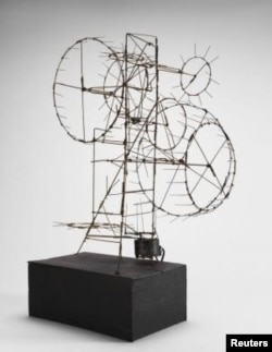 "A handout picture shows ""Prayer Wheel,"" a 1954 steel wire sculpture by Jean Tinguely, which is on display in the show ""Experiments in Truth: Gandhi and Images of Nonviolence,"" at The Menil Collection museum in Houston. (Artists Rights Society/ADAGP/)"