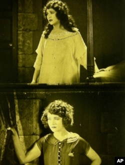 "Actress Betty Compson in her dual role in ""The White Shadow. """