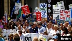 6月23日倫敦中部民眾示威反對脫歐。