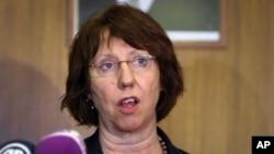 지난달 23일 기자회견장에서 유럽연합 외교정책의 캐서린 애쉬톤대표. (자료사진)