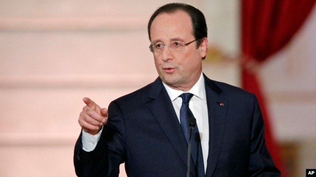 French President Francois Hollande at a news conference, Jan.14, 2014.