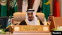 FILE - Saudi King Salman, shown at an Arab summit in Riyadh.
