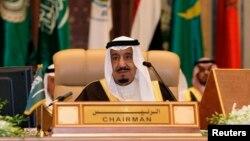 FILE - Saudi King Salman, shown at an Arab summit in Riyadh.