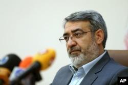 Iranian Interior Minister Abdolreza Rahmani Fazli speaks during a press conference in Tehran, Iran, April 13, 2015.