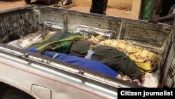 Gawarwakin mutane ukun da aka kashe a Tambo dake yankin Gire cikin jihar Adamawa
