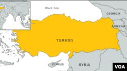 土耳其地理位置图。