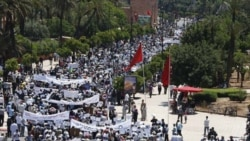 A demonstration May 8, organized by the pro-democracy February 20th Movement in Morocco, to protest terrorism following a bomb explosion in Marrakech