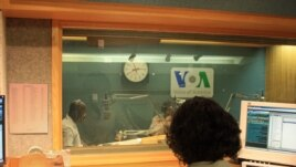 VOA Hausa Journalists Ibrahim Ka'almasih Garba and Kabiru Fagge in Studio