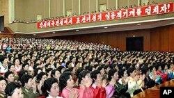 평양에서 3.8국제부녀절을 기념해 진행된 중앙보고회 (자료사진)