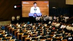 Tổng thống Philippines Rodrigo Duterte đọc Thông điệp Quốc gia tại thành phố Quezon, Manila, vào ngày 23/7/2018.