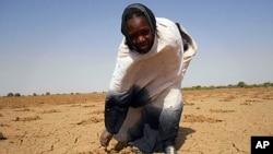 一名非洲婦女指著嚴重乾旱的土地﹐毛里塔尼亞,尼日爾,布基納法索,馬里和乍得等非洲國家出現大規模糧食危機。