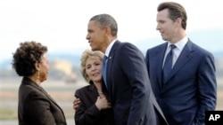 奥巴马总统在加州为民主党参议员助选