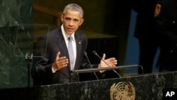 Le président américain Barack Obama prononce son discours lors de la 70e session de l'Assemblée générale des Nations Unies au siège de l'ONU, le 28 septembre 2015.