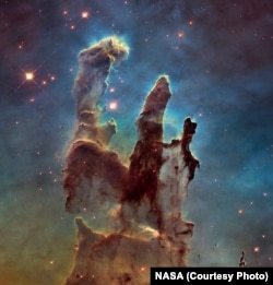 These towers of gas and dust in the Eagle Nebula are known as the Pillars of Creation because within them, hundreds of new stars are being created.