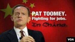 Salah satu iklan negatif yang menuduh kandidat Senator Pat Toomey membantu Tiongkok merampas lapangan kerja AS.