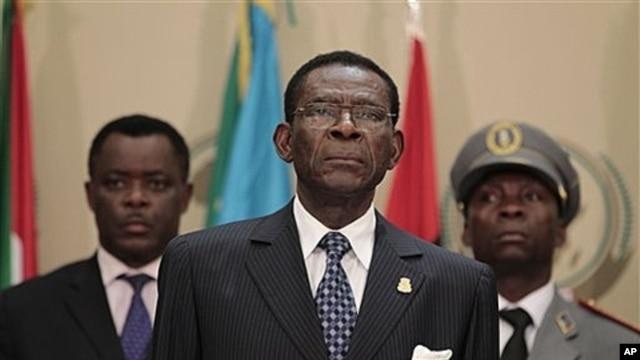 Equatorial Guinea President Teodoro Obiang Nguema, center, July 1, 2011.