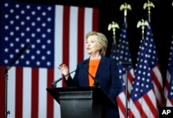 FILE- Democratic presidential candidate Hillary Clinton gives an address on national security, in San Diego, California, June 2, 2016.