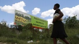 A Zimbabean woman walks past a billboard promoting male cirumcision to combat AIDS in the capital (Philimon Bulawayo/Reuters)