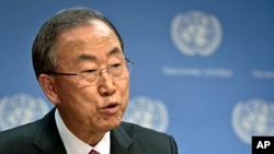 FILE - United Nations Secretary-General Ban Ki-moon speaks during a news conference at U.N. Headquarters in New York.