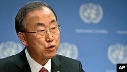 FILE - U.N. Secretary General Ban Ki-moon holds a news conference on Syria at the U.N. headquarters, Sept. 3, 2013.