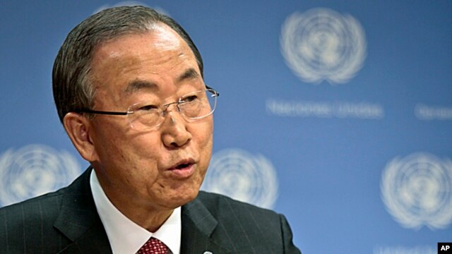 FILE - U.N. Secretary General Ban Ki-moon holds a news conference on Syria at the U.N. headquarters, Sept. 3, 2013.