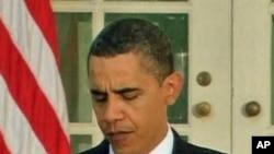 President Barack Obama reacting to his Nobel Peace Prize